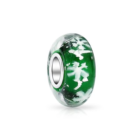 Bling Jewelry 925 Silver Simulated Emerald Murano Glass Foil Snowflake Bead Charm