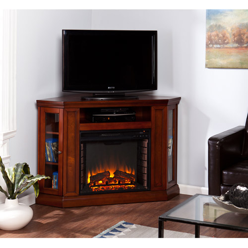 "Southern Enterprises Silverado Electric Media Fireplace, for TVs up to 46"", Mahogany"