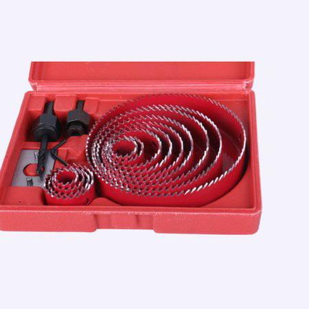 Carbon Steel Hole Saw Set Kit ,Fosa 16pcs Hole Saw Drill Bit Kit Wood Plastic Sheet Metal w/Case 3/4  - 5  Cutting ()