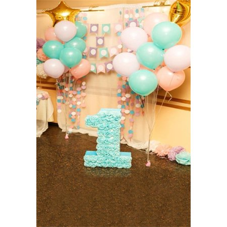 HelloDecor Polyster 5x7ft Baby 1st Birthday Backdrop Balloon Interior Party Decoration Photography Background Kid Girl Child Infant Newborn Artistic Portrait Photo Shoot Studio Props Video - Halloween Photo Shoot Ideas For Infants