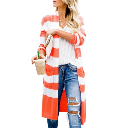 Stripd Women Autumn Casual Long Knit Cardigan Sweater with Pocket