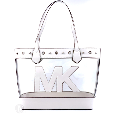 BRAND NEW WOMEN'S MICHAEL KORS CLEAR OPTIC WHITE MONTAUK LARGE TOTE HANDBAG (Clear Michael Kors Handbags)