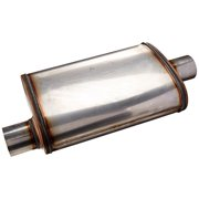 AP EXHAUST PRODUCTS XS1226 MUFFLER - XLERATOR STAINLESS STEEL, OVAL-O/C, 20IN OAL, 2.50IN