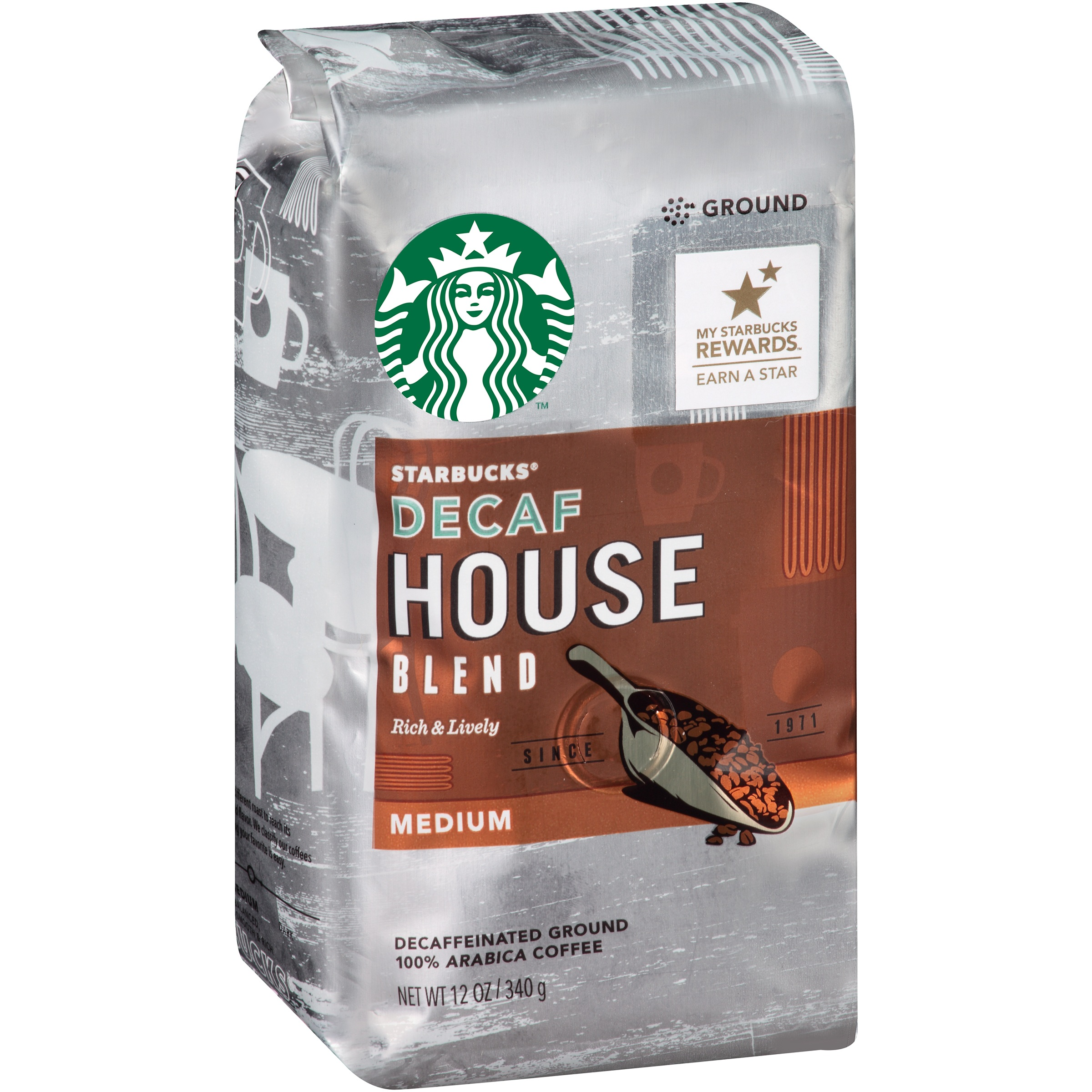 Starbucks Decaf House Blend Ground Coffee, 12 oz