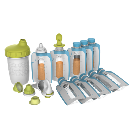 Squeeze Set - Kiinde Foodii Squeeze Snack Filling & Feeding System Starter Kit, 14-Piece Set