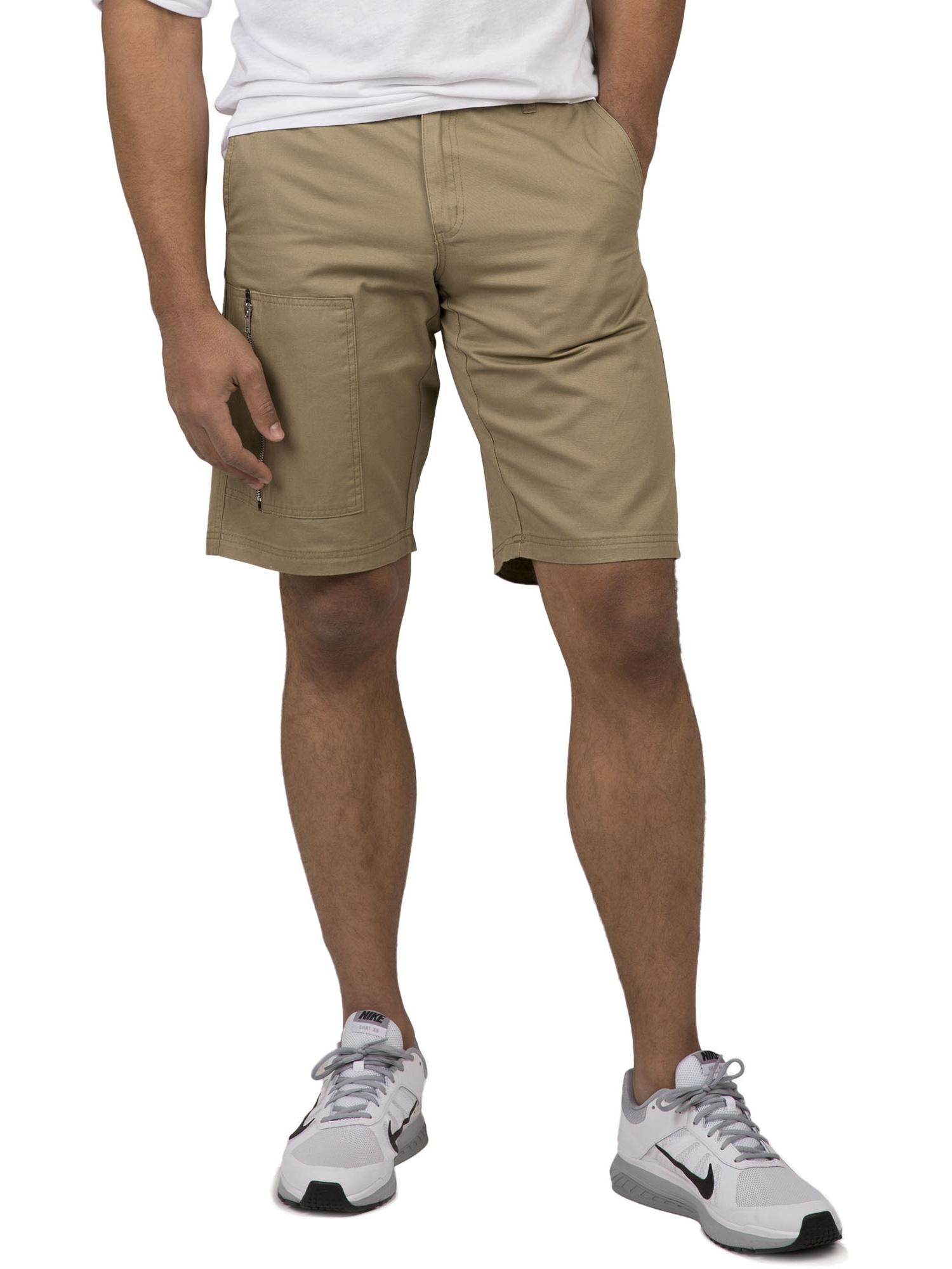 "Vibes Gold Label Men's Khaki Twill Zipper Cargo 11"" Length Shorts"