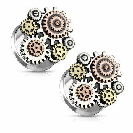 Ear Gauges Double Flared  Yin and Yang Steampunk Geared Surgical - Gear Gauges