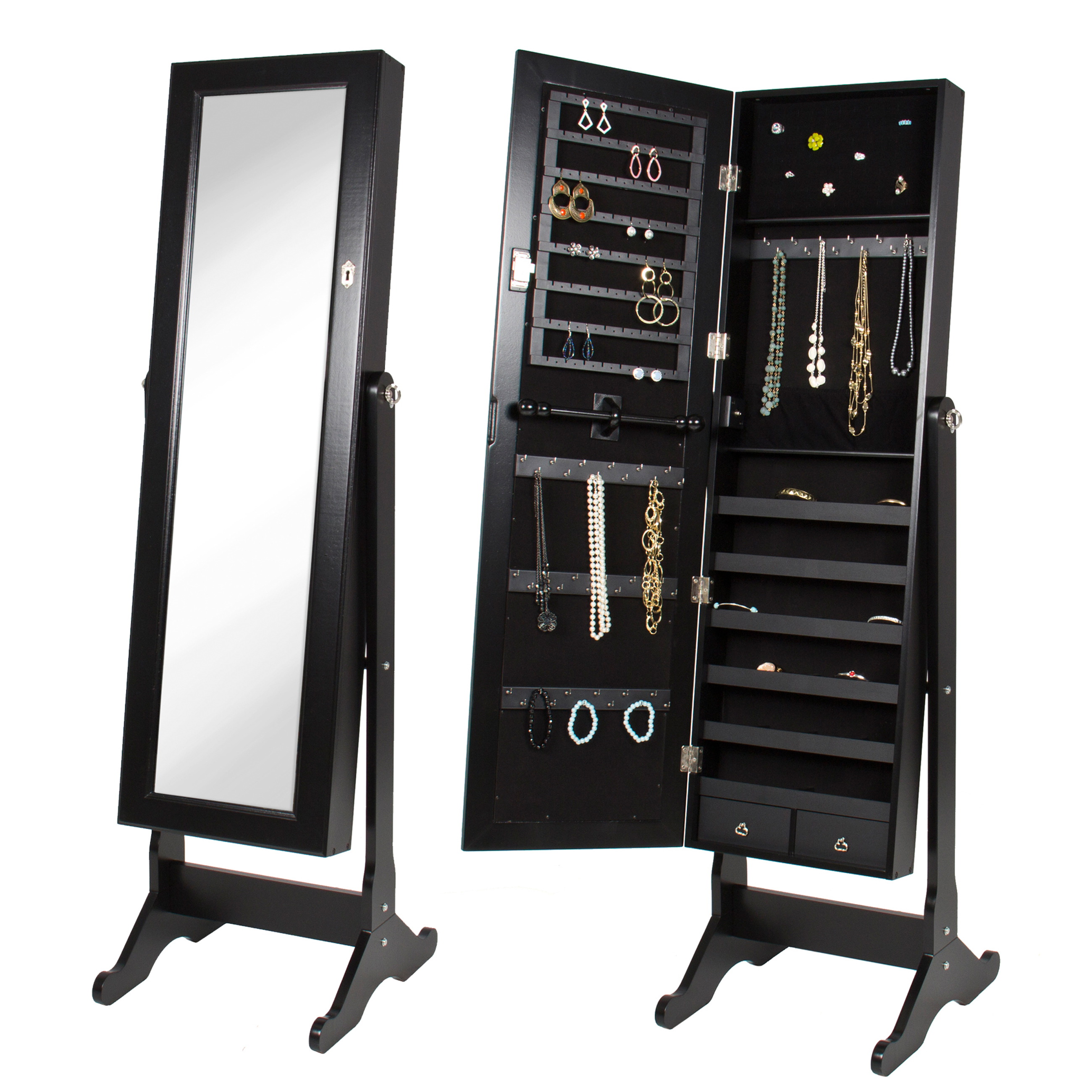 Black Mirrored Jewelry Cabinet Armoire W/ Stand Mirror Rings, Necklaces, Bracelets