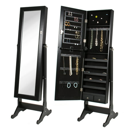 Mirrored Jewelry Cabinet Armoire w/ Stand Rings, Necklaces, Bracelets ()