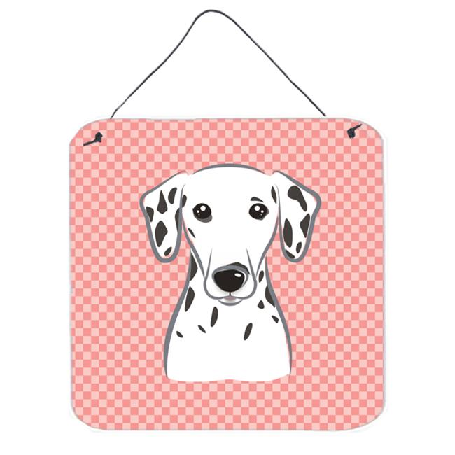 Checkerboard Pink Dalmatian Aluminum Metal Wall Or Door Hanging Prints, 6 x 6 In.