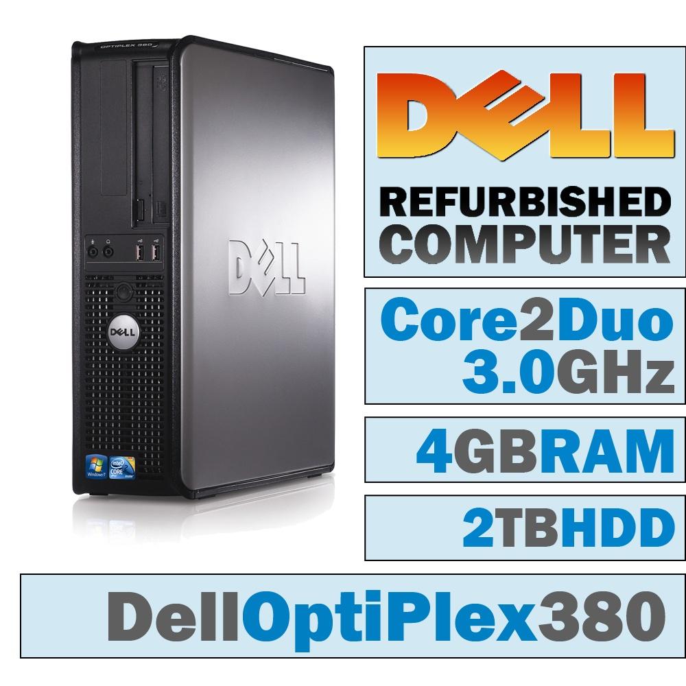 REFURBISHED Dell OptiPlex 380 DT/Core 2 Duo E7600 @ 3.07 GHz/4GB DDR3/2TB HDD/DVD-RW/WINDOWS 10 PRO 64 BIT