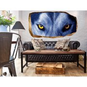 Startonight 3D Mural Wall Art Photo Decor Wolf Eyes Amazing Dual View Surprise Wall Mural Wallpaper for Bedroom Animals Wall Paper Art Gift Large 47.24 '' By 86.61 ''