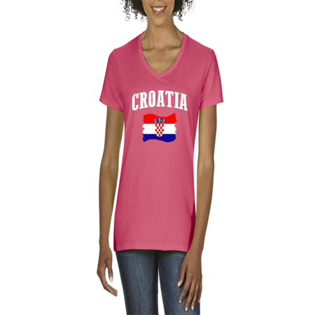 Croatia Flag Women's V-Neck T-Shirt Tee Clothes (Croatia Flag T-shirt)