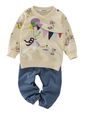 StylesILove Pattern Sweatshirt and Jeans Little Girls Outfit