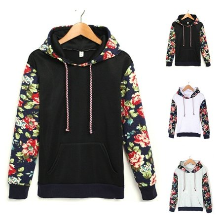 Women Casual Hooded Long Sleeve Patchwork Floral Loose Leisure Sports Hoodie Sweat - Polyester Leisure Suits