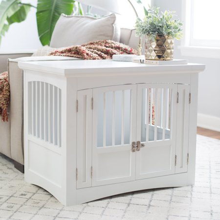 Boomer & George Double Door Pet Crate - White Perfect for your small pets, the Boomer & George Double Door Pet Crate- White offers a stylish place for your pet to rest and relax. This piece is made with quality wood in a crisp white finish. It can be placed in any living room or bedroom and features multiple doors for easy access. The doors have hinges and latch easily for extra security. Best of all, this is a Hayneedle exclusive you won't find anywhere else.