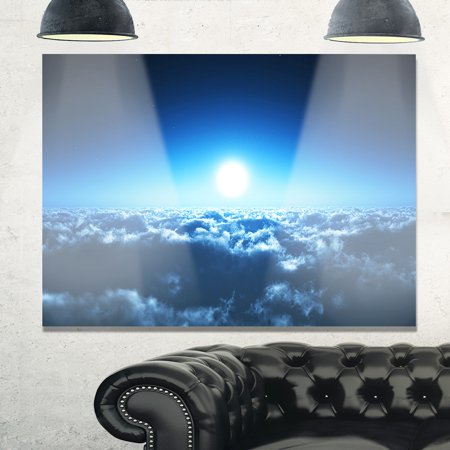 DESIGN ART Night Flight above Clouds - Extra Large Glossy Metal Wall Art Landscape