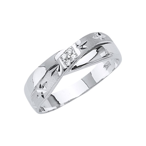 14K Solid White Gold CZ Men's Traditional Wedding Band Ring - size 9.5