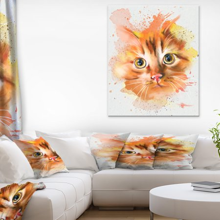 Lovely Red Watercolor Cat - Animal Canvas Art Print - image 3 de 3