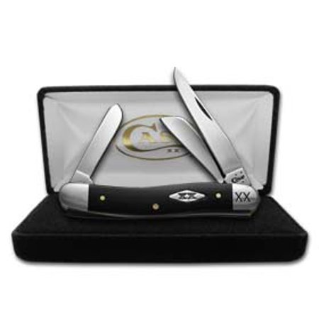 - CASE XX Engraved Bolster Smooth Black Synthetic Delrin Stockman 1/500 Stainless Pocket Knife