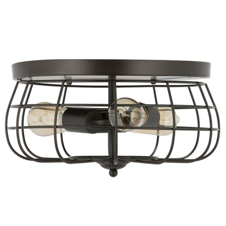 """15"""" Industrial 3-Light Cage Flush Mount Ceiling Light, Oil Rubbed Bronze Finish"""
