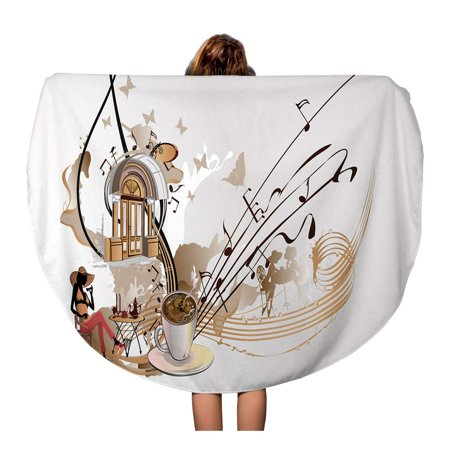 JSDART 60 inch Round Beach Towel Blanket Coffee Music Abstract Treble Clef Decorated Notes Sweets Travel Circle Circular Towels Mat Tapestry Beach Throw - image 1 of 2