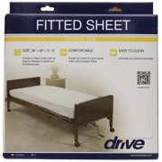 """Drive Medical 15030HBL Hospital Bed Fitted Sheets, White, 36"""" x 80"""" x 5""""-6"""""""