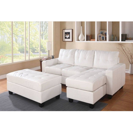 Sectional Sofa (Reversible Chaise) With Ottoman, White Bonded Leather Match - Bonded Leather Match White