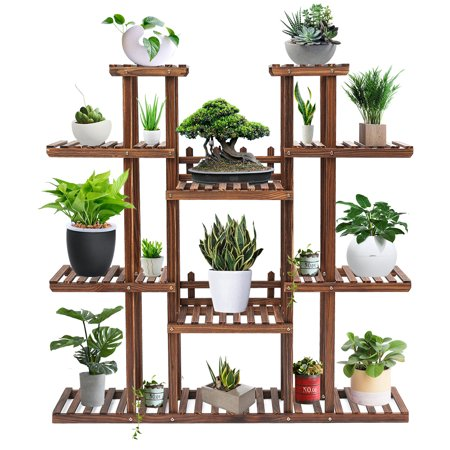7-Tier AUDEW Wooden Flower Stand Rolling Flower Plant Display Stand Shelf Ladder Stand for Living Room Balcony Patio Yard Indoors & Outdoors Ample for 17 Pots ()