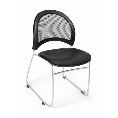 OFM Moon Series Model 335-VAM Anti-Microbial/Anti-Bacterial Vinyl Stack Chair, Black
