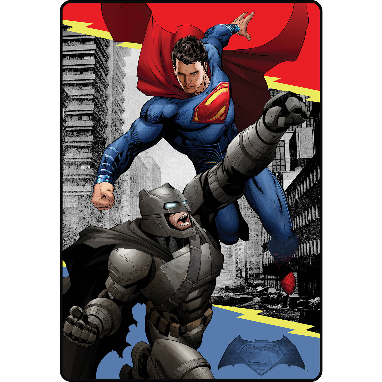"DC Comics Batman vs Superman Heroes Duel 62"" x 90"" Kids Plush Blanket"