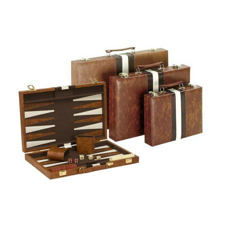 White Stitching Backgammon Set - 14.75