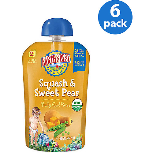 Earth's Best Puree Organic Squash & Sweet Peas 3.5oz - Stage 2 Baby Food (Pack of 6)