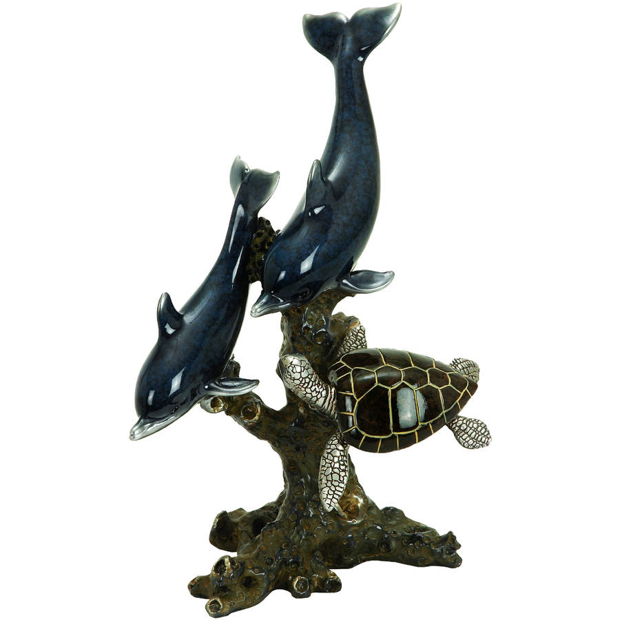 Decmode Polystone Dophin and Sea Turtle, Multi Color