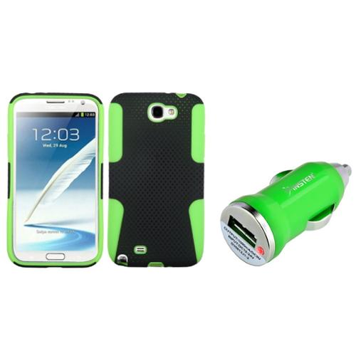 Insten Green/Black Hybrid Case+Mini Car Charger Adapter For Samsung Galaxy Note 2