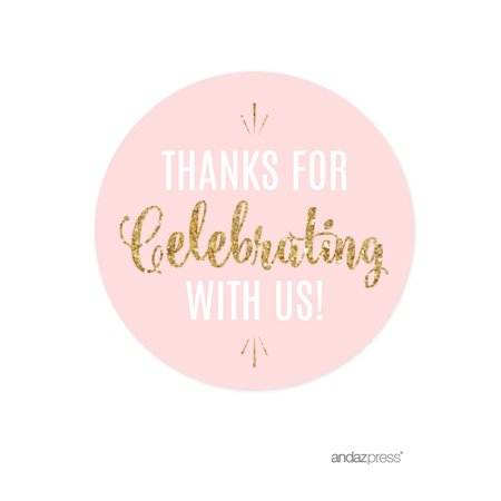 Stickers Wholesale (Signature Blush Pink, White, Gold Glittering Party, Circle Labels Stickers, Thanks for Celebrating With Us!)