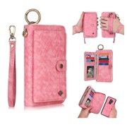 Galaxy S9 Plus Wallet Detachable Case, Dteck [wrist band][14 Card Slots] Zipper Purse Phone Case Multi-functional Folio Flip Weave PU Leather Removable Magnetic Back Cover For Samsung Galaxy S9+,Pink