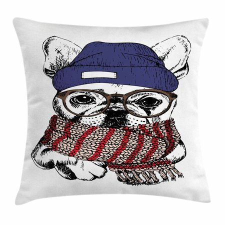 Bulldog Throw Pillow Cushion Cover, Hand Drawn Style Portrait of Cozy Winter Dog Wearing a Scarf Beanie and Glasses, Decorative Square Accent Pillow Case, 16 X 16 Inches, Multicolor, by Ambesonne ()