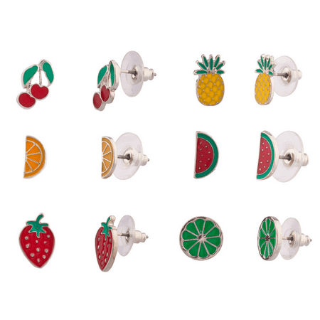 Lux Accessories Fruit Cocktail Cherry Orangle Slice Strawberry Pineapple Watermellon Lime Drink Multiple Stud Earrings Set Women's Girls & Kids ()