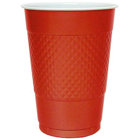 Hanna K Plasticware, Plastic Cup, Red, 16 Oz, 50 Ct