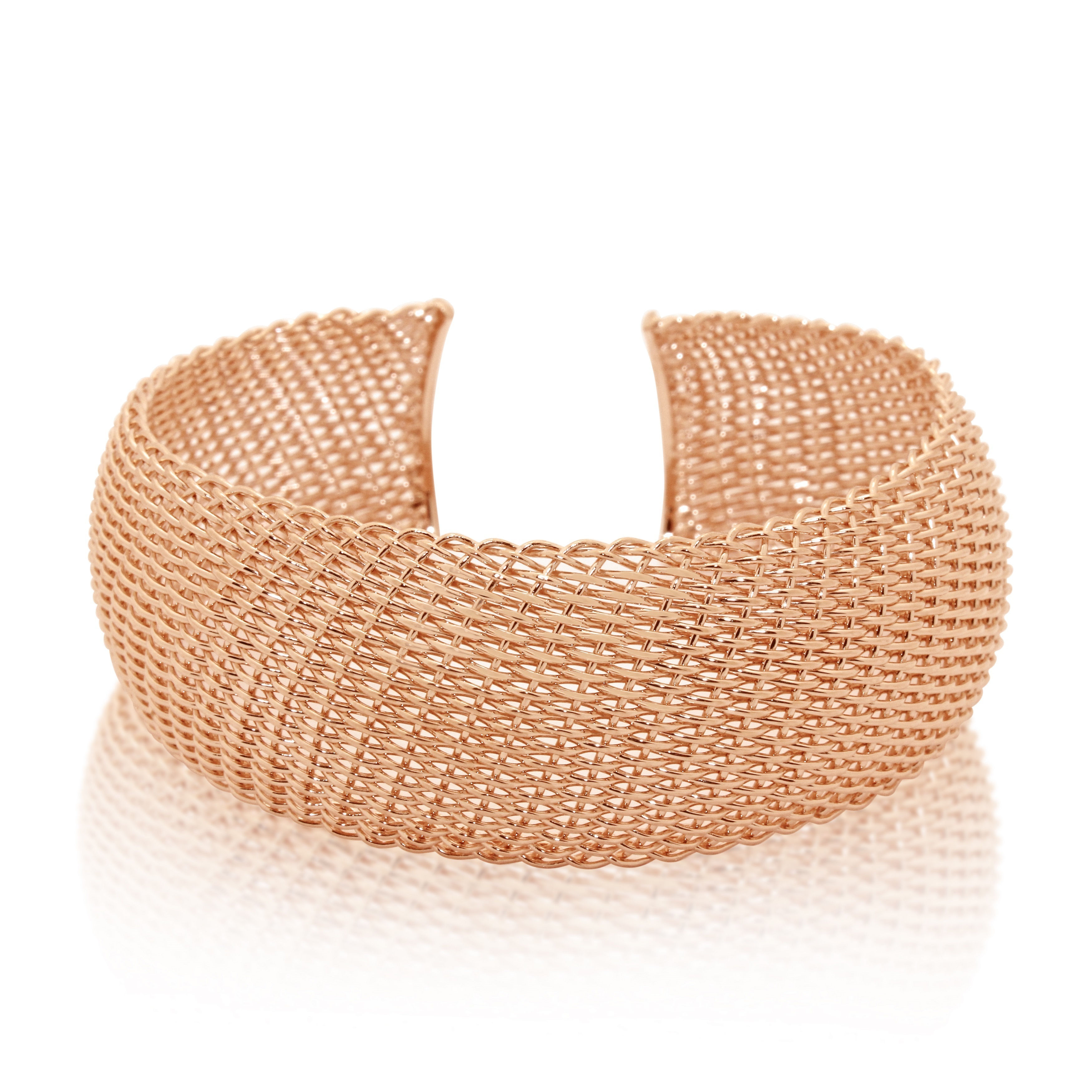 Gioelli Designs Sterling Silver Gold-plated Mesh Fenced Cuff Bangle