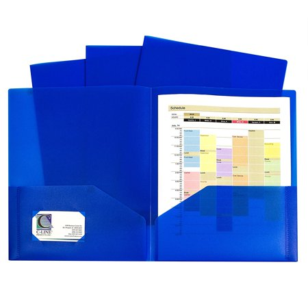 Ten Slot (Two-Pocket Heavyweight Poly Portfolio, For Letter Size Papers, Includes Business Card Slot, Blue, 10 pack (32955), Two-pocket heavyweight polypropylene portfolio folders.., By C-Line )