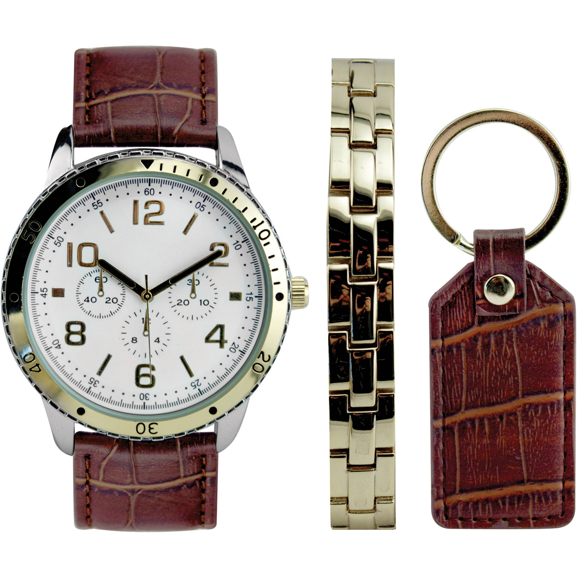 Men's Gold and Brown Croco Watch Set with Bracelet and Key Chain