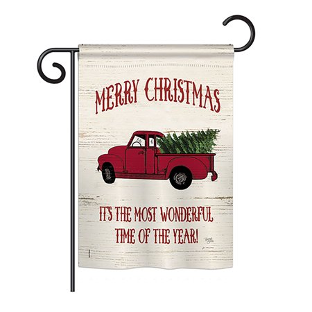 "Breeze Decor - Merry Christmas Vintage Truck Winter - Seasonal Christmas Impressions Decorative Vertical Garden Flag 13"" x 18.5"" Printed In USA"