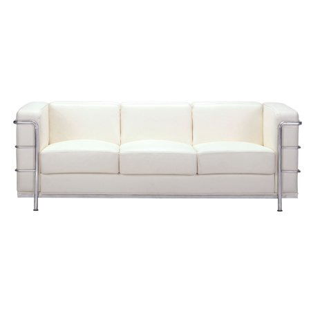 Modern Contemporary Living Room Sofa White Leather Chrome Steel