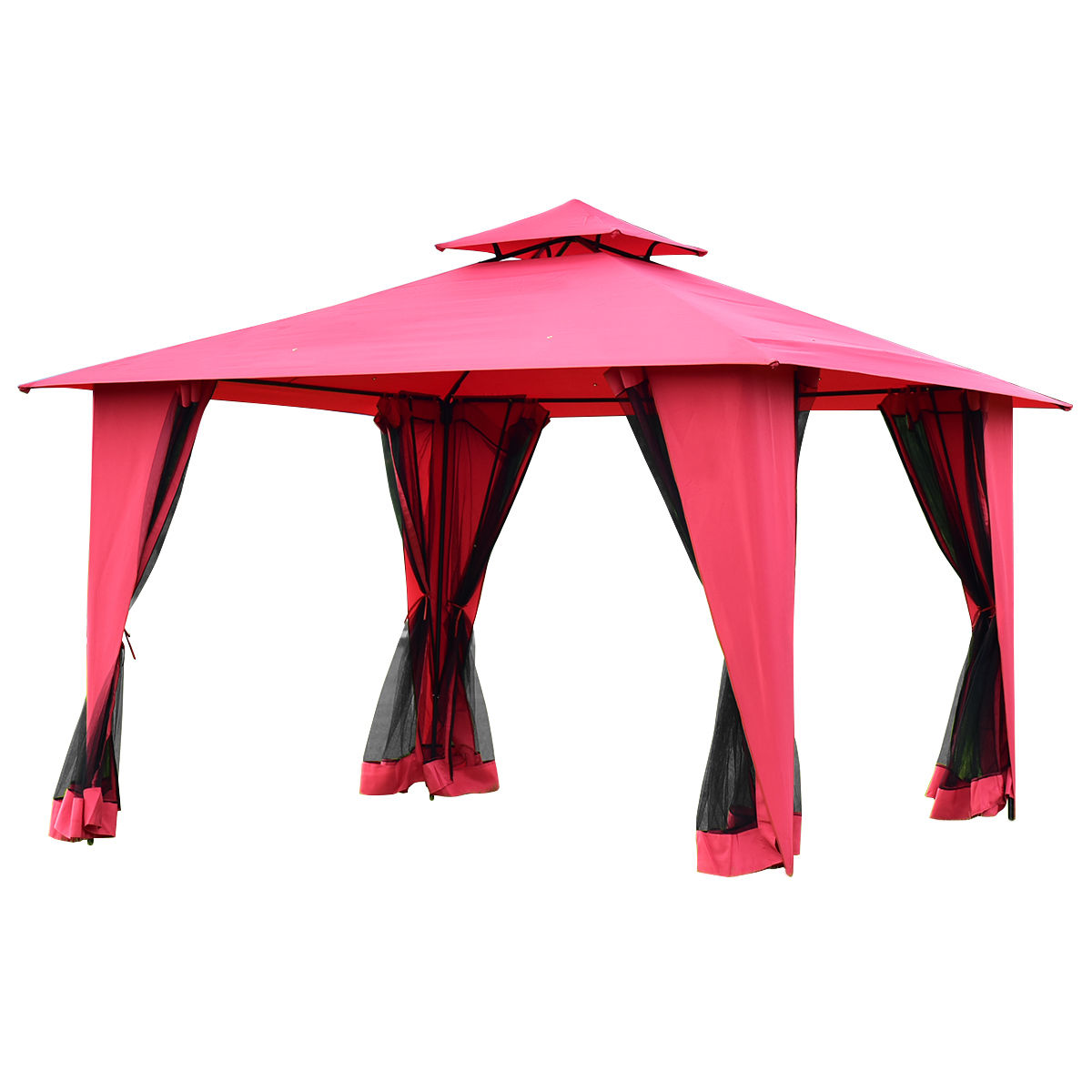 Gymax Burgundy 11'x11' 2-Tier Gazebo Canopy Shelter Patio Party Tent by Gymax