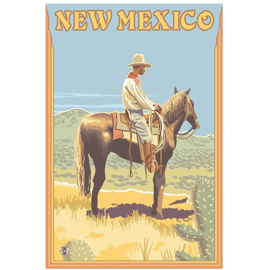 Cowboy (Side View) - New Mexico: Retro Travel Poster by Eazl Premium Gallery Wrap