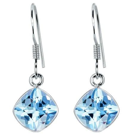 925 Sterling Silver Sky Blue Topaz Dangle Earrings by Orchid Jewelry For Women + Free Jewelry Velvet (Blue Topaz Topaz Jewelry Box)