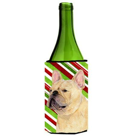 French Bulldog Candy Cane Holiday Christmas Wine Bottle  Hugger - 24 oz. - image 1 de 1