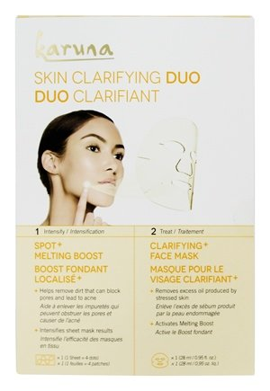 Skin Clarifying Duo Acne + Pore Boost & Face Sheet Mask - 2 Count by Karuna (pack of 4) Quinoa Anti Wrinkle Eye Cream By Frulatte for All Skin Types Enriched with Organic Oil of Quinoa. 1 fl. Oz. 2 Pack Bundle